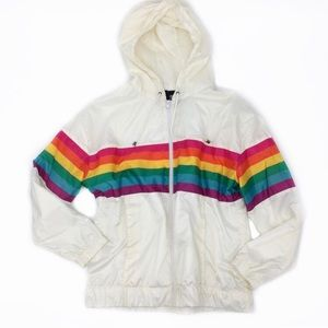 Ivory Rainbow Windbreaker Full Zip Pocketed